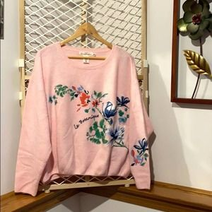 H&M Pink Floral Embroidery Sweater Large